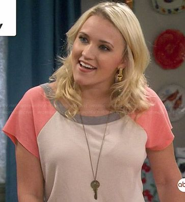 Gabi's white and peach baseball top on Young and Hungry.  Outfit Details: http://wornontv.net/35674/ #YoungandHungry