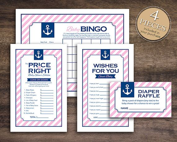 Instant Download Pink Nautical Girl Baby Shower Games By Studio20Designs,  $4.00