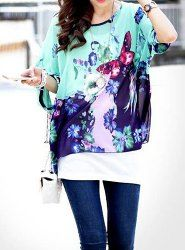 $8.41 Butterfly Print Casual Scoop Neck Batwing Sleeve Blouse For Women