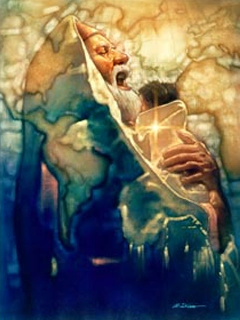 Simeon's MomentRon DiCianni.  I love this and it fits so well with the scripture!  Just as I imagined Simeon would react when seeing the Messiah babe.