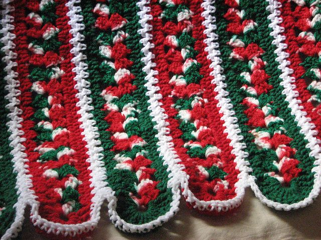Christmas Afghan ... a *mile-a-minute* pattern from Leisure Arts.  Red heart yarn, Mistletoe, Paddy green, Cherry red, white