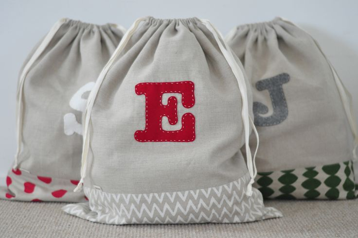 Custom Made Initial Santa Sacks made by Needle&I in collaboration with Little & Loved.