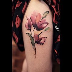 Red Poppy Flower Watercolor tattoo