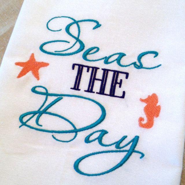 """Beach Themed Kitchen Towel """"Seas the Day"""" Beach House or Tea"""