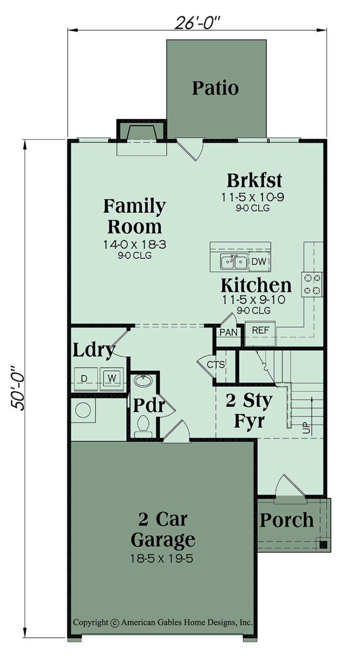 Narrow Lot Plan 1801 Square Feet 4 Bedrooms 2 Bathrooms Woodland Narrow House Plans Floor Plans Garage Floor Plans