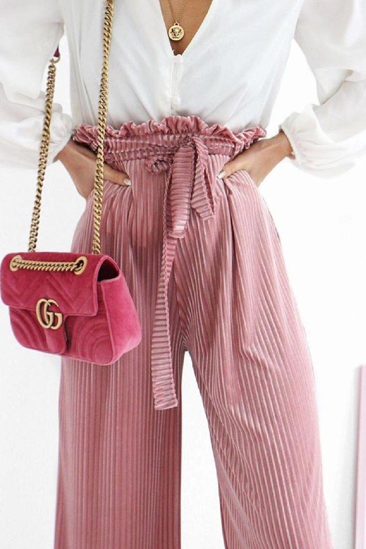 Pink Velvet Paperbag Wide Leg Trousers