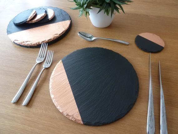 Round Slate Placemats Coasters Handmade Uk Geometric Decor Etsy Slate Placemats Geometric Decor Handmade Uk