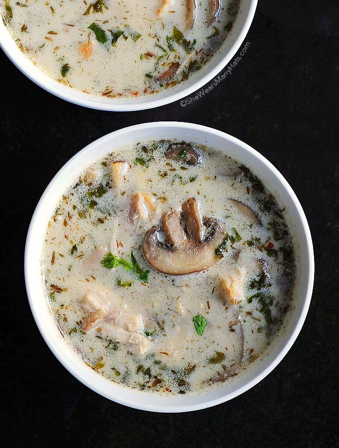 This Thai-inspired Coconut Chicken Soup Recipe makes a wonderful bowl of soup with the flavor combination of ginger, lemongrass, coconut milk and a bit of spice.
