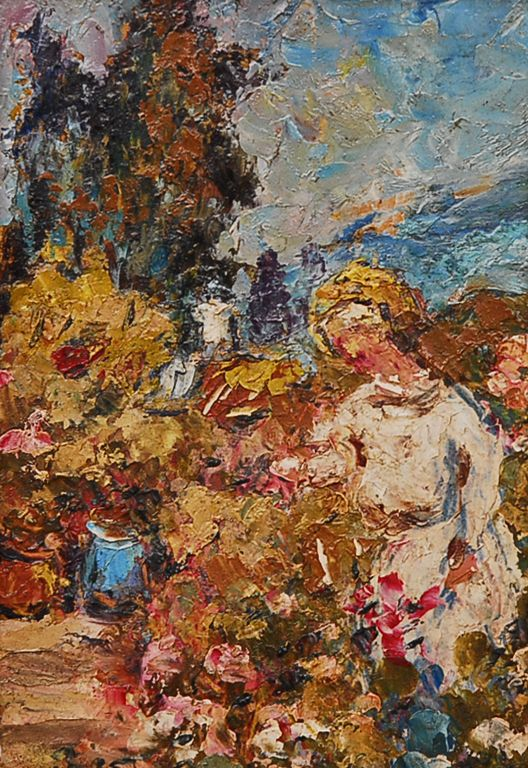 José Boris Casanova - La Florista - Óleo sobre cartó