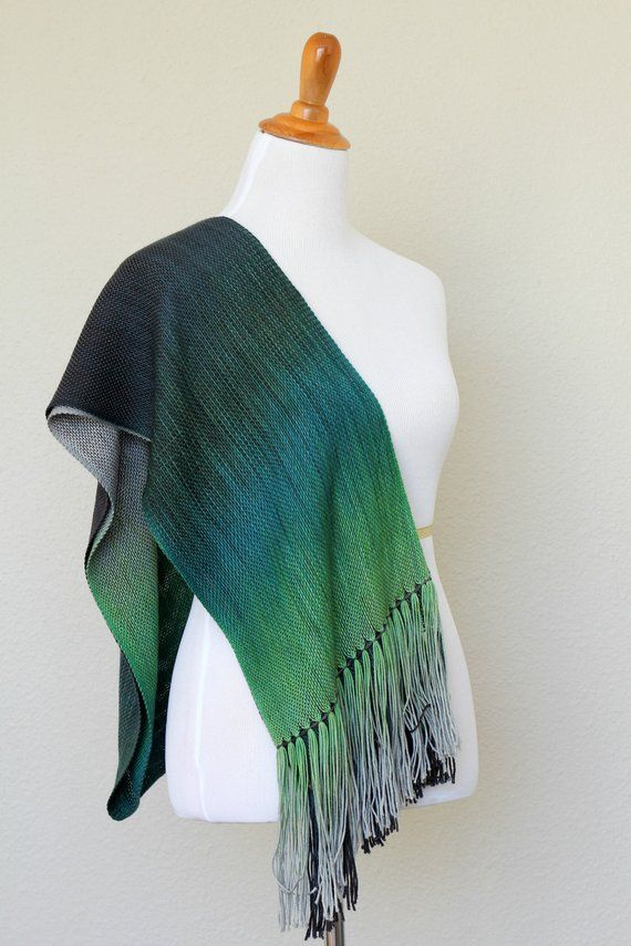 a6c86a823 Woven scarf, pashmina scarf in gradient color green, teal, grey, woven  wrap, woven stole with fringe