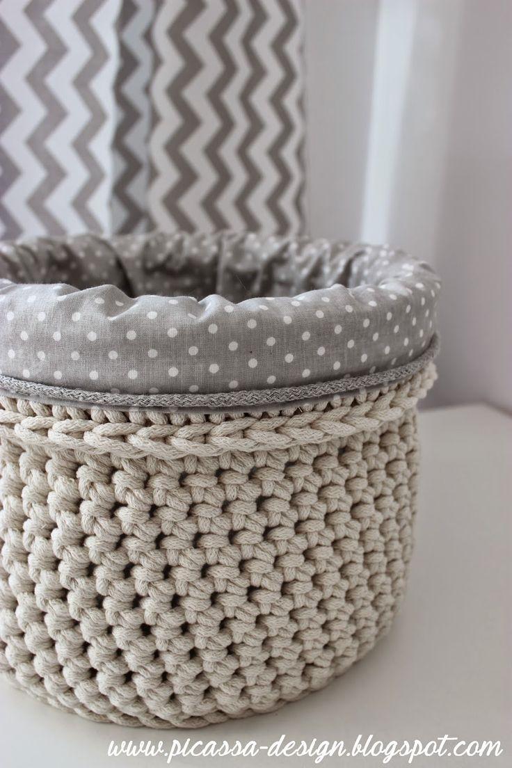Lined crochet basket - no translation or instructions, just idea inspiration