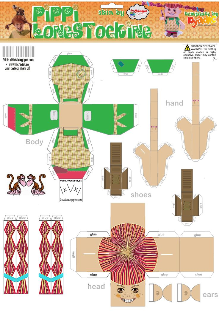 Pippi Longstocking paper folding figure - might be a bit complex for 4-5 year olds!