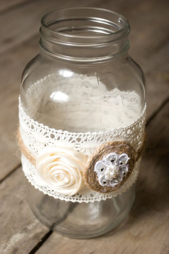 Wedding Mason Jar Wrapped with Lace and Twine with Roses on Etsy, $8.99