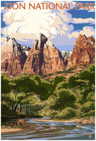 Zion National Park - Virgin River And Peaks Photo at AllPosters.com