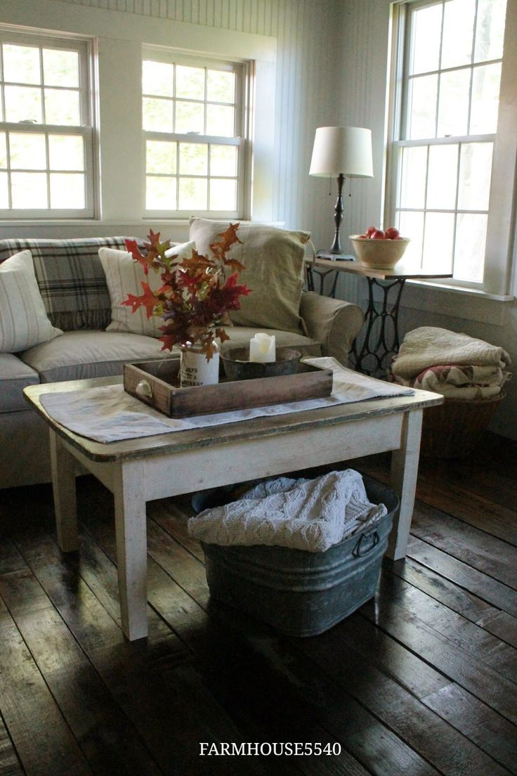 FARMHOUSE 5540: Autumn in the Family Room - OK I love the galvanized tub idea for holding quilts.....