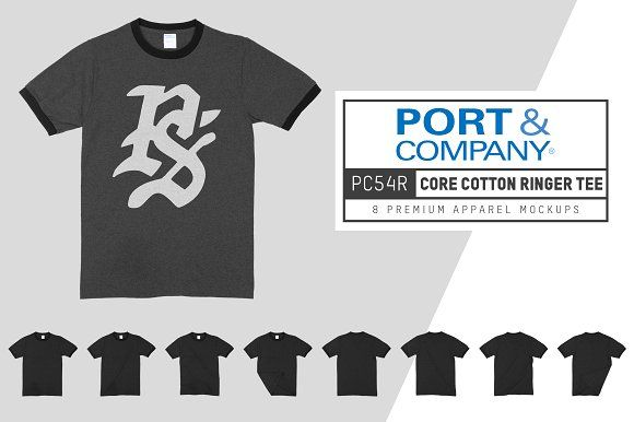 Download Port Company Pc54r Core Ringer Tee Port Company Clothing Mockup Mockup Design