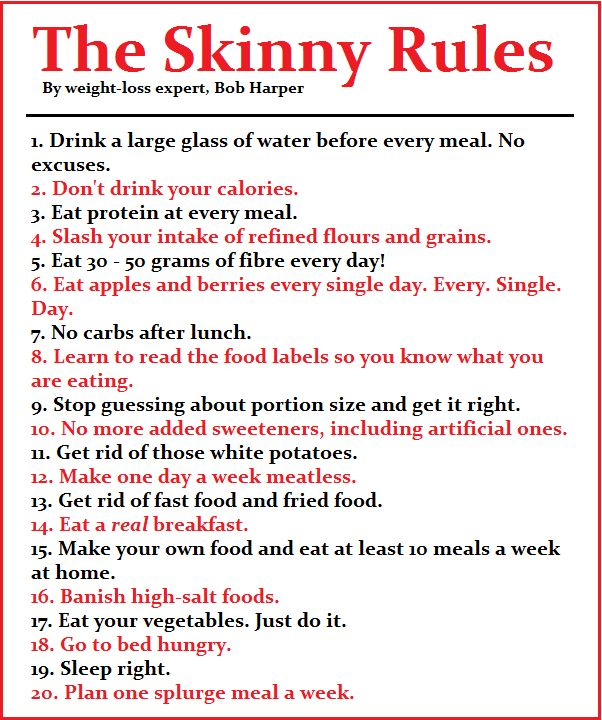 Printable version of bob harpers quot the skinny rules quot enjoy bobs