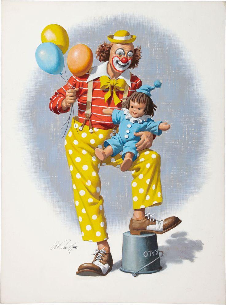 Смешные, клоун на открытке