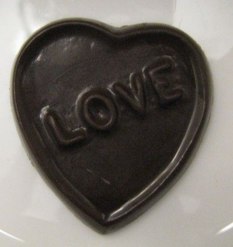 "Heart with ""love"" chocolates"