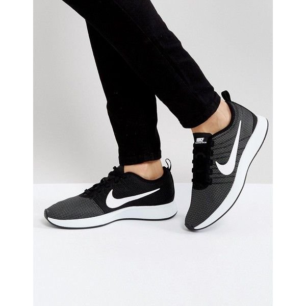 Nike Dualtone Racer Sneakers In Black ($99) ❤ liked on Polyvore featuring shoes, sneakers, black, high-top sneakers, black shoes, nike shoes, black high top sneakers and nike high tops