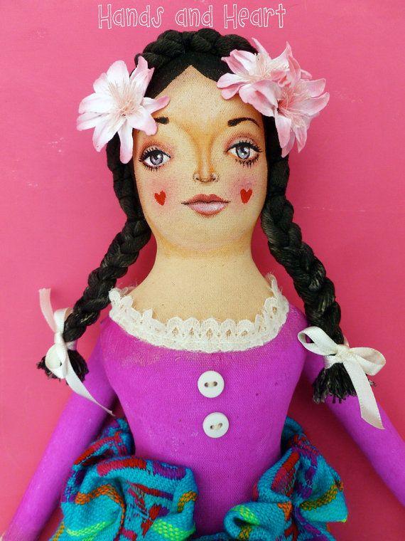 Магали Искусство Ткань Мексиканская кукла arthandsandheart на Etsy
