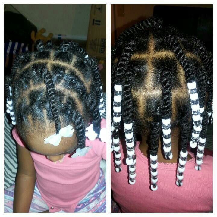 Box twists and beads! Great style for little girls with natural hair! My baby loves her hair!