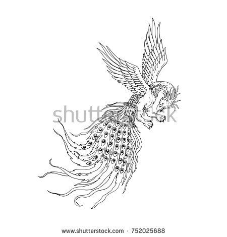 Drawing sketch style illustration of a Simorg,Simurgh, simorg, simurg, simoorg, simorq or simourv, a mythical bird in Iranian mythology with head of wolf, beak of eagle, legs of lion, tail of peacock.  #Simorg #drawing #illustration