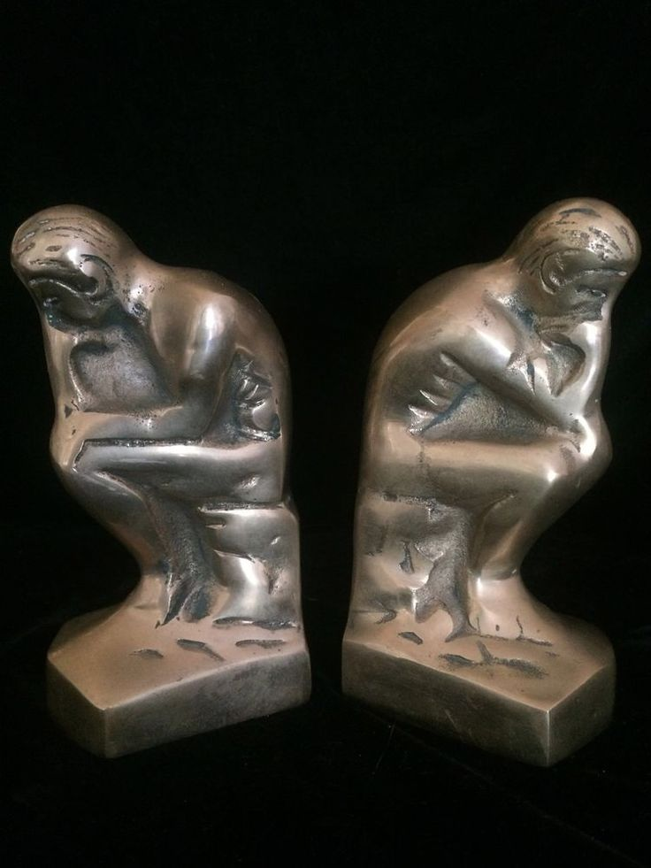 Vintage Brass Bookends - The Thinker