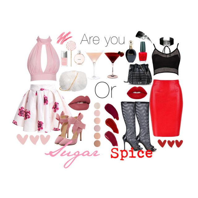 """""""Are you sugar or spice?"""" by mishcacao on Polyvore featuring Boohoo, Posh Girl, Chanel, Roberto Cavalli, Margaritaville, Christian Dior, OPI, Miss Selfridge, STELLA McCARTNEY and Hourglass Cosmetics"""