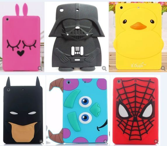 3d cute cartoon soft silicone back cover case for #ipad mini/#ipad 2/3/4 from $11.99