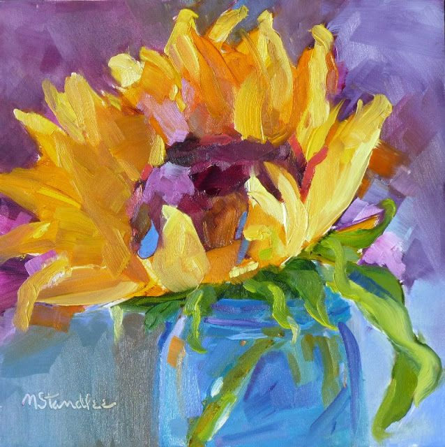 "Nancy Standlee Fine Art: Dreama Tolle Perry Workshop, Lexington, KY, ""Musical Sunflower"" Oil Painting, SOLD, Watercolor Art Journal Entries by Texas Daily Painter Nancy Standlee"