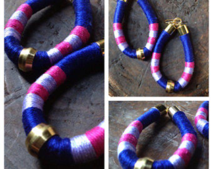 Egypte - bleu Cobalt Vibrant, boucles d'oreilles de corde de coton lilas et rose - africain Tribal ethnique énoncé moderne bijou-tonique