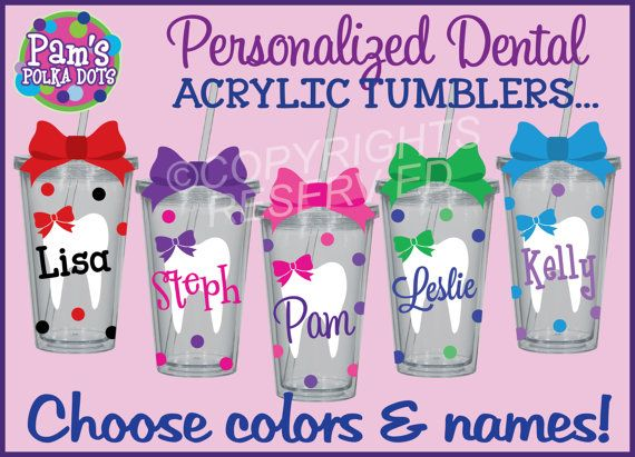 Personalized DENTAL ASSISTANT / HYGIENIST Acrylic Tumblers with Name & Polka Dots. Handmade by Pam's Polka Dots.