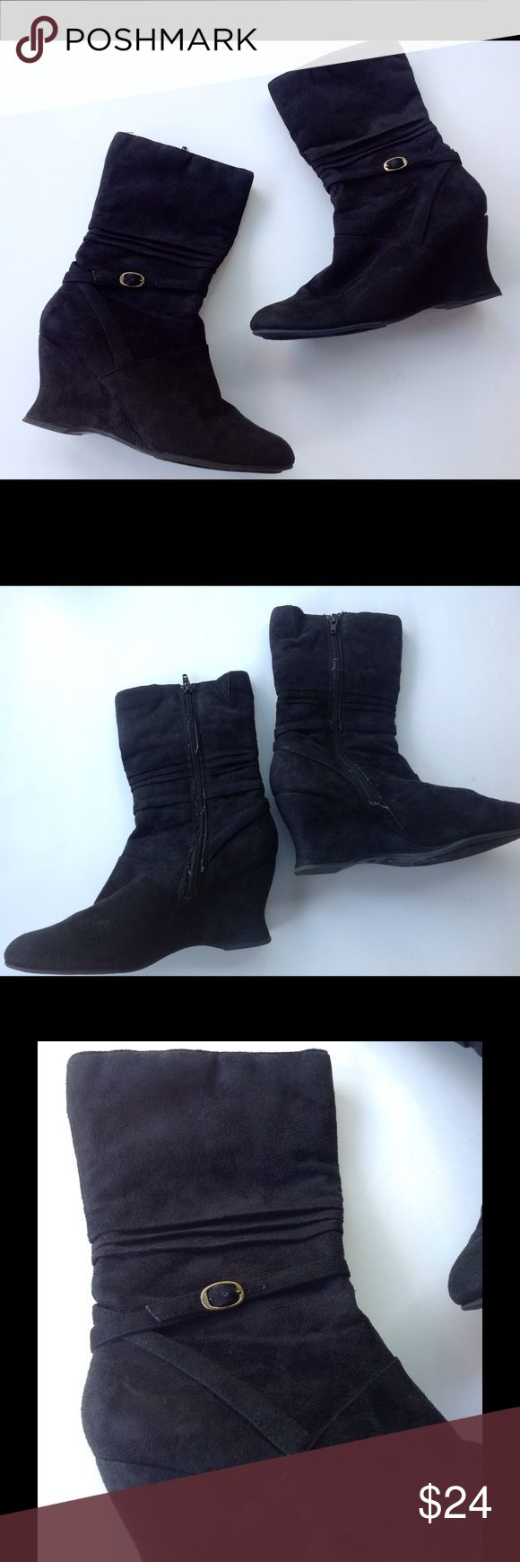 """Covergirl Black Wedge Heel Boots Very cute black wedge boots with buckle detail. Size zip. Heel measures approx 3"""" . Excellent conditon! Covergirl Shoes Heeled Boots"""