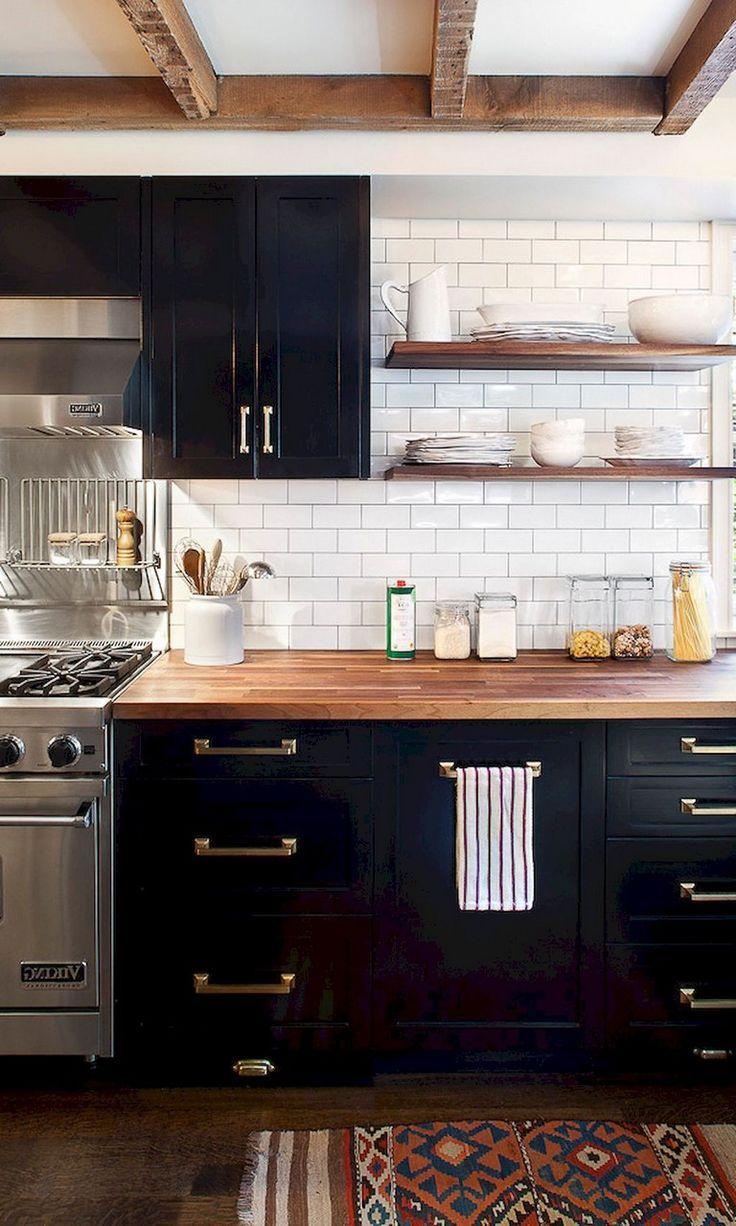 59 Marvelous Black Kitchen Cabinets Design Ideas Kitchen Cabinet Design Black Kitchen Cabinets White Wood Kitchens