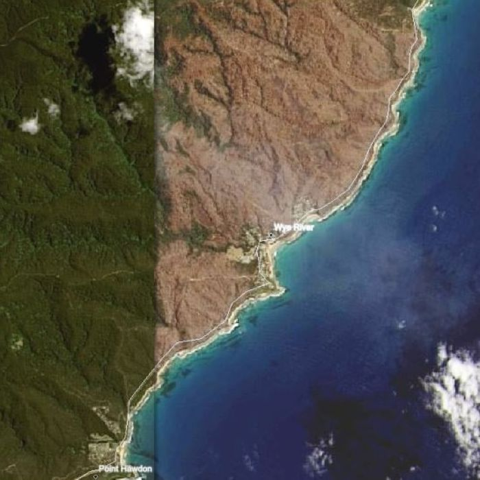 Satellite images of Australian states reveal the devastating impact last summer's bushfires had on the country's classic landscape.