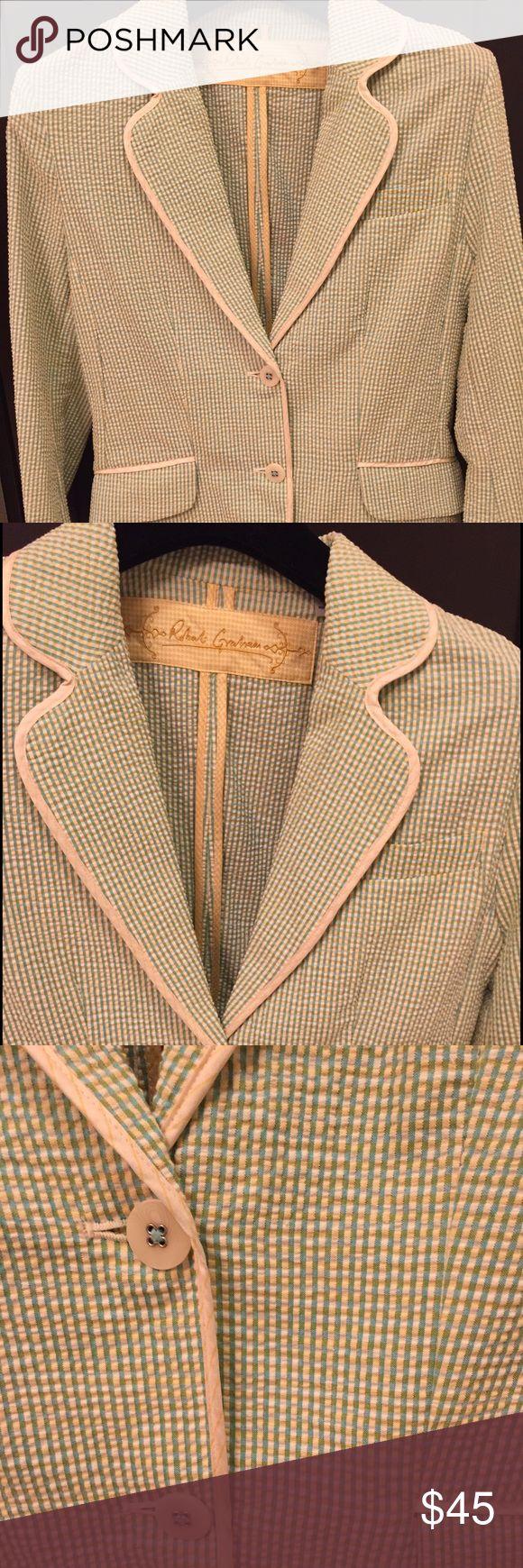 Robert Graham seersucker jacket New seersucker jacket by Robert Graham in size 10 with two buttons & double pleats in back. Robert Graham Jackets & Coats Blazers