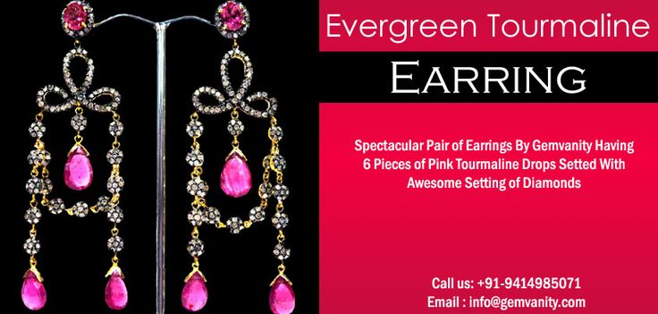 Spectacular Pair Of Earrings By Gem Vanity Having 6 Pieces Of Pink Tourmaline.