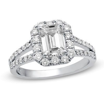 7/8 CT. T.W. Certified Emerald-Cut Diamond Frame Split Shank Engagement Ring in Platinum (H/SI1)