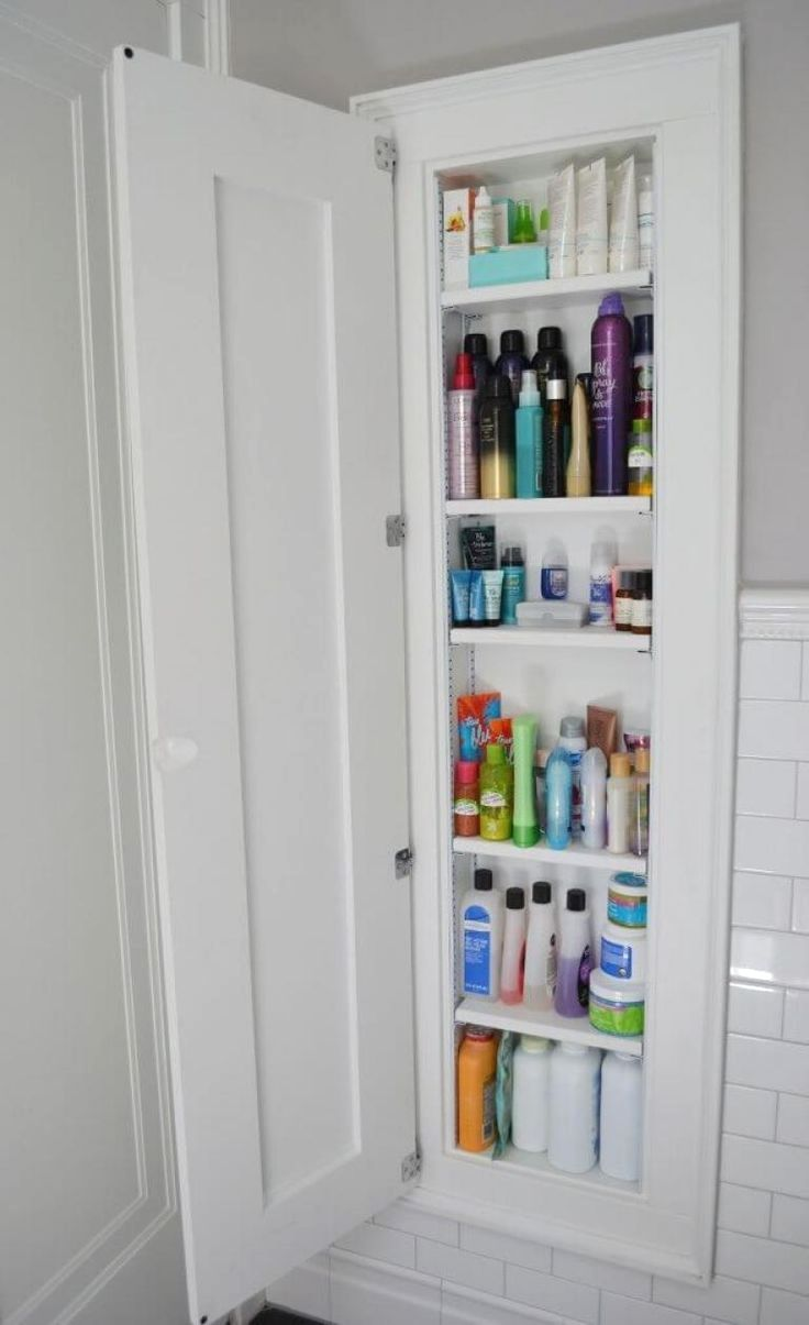 8 Extra Tall Medicine Cabinet With Wooden Door Image Source Built In Bathroom Storage Small Bathroom Storage Bathroom Storage Organization
