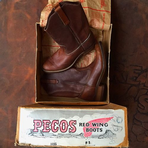 Archives Monday - The little things that matter. The Red Wing Pecos was the first western boot that harmonized durability with the western appeal. This 1980s 1155 Pecos is unworn with its original...