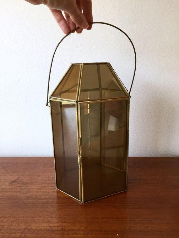 Glass Curio Lantern / Tall Glass  Metal Terrarium by ShopRachaels