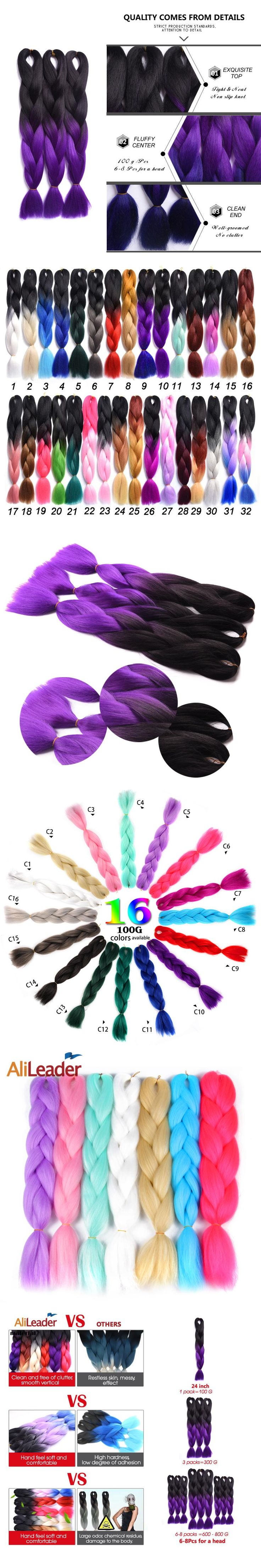 Alileader Kanekalon Synthetic Braiding Hair Two Tone Crochet Twist Hair Purple Hair Extensions Black African Braids 24Inch 100G