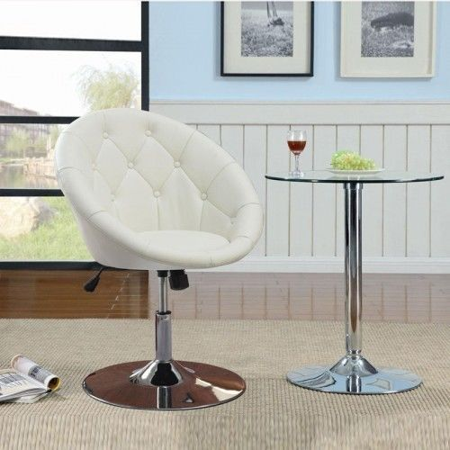 Round-Back-Swivel-Chair-White-Home-Office-Furniture-Bar-Stool-Sitting-Room-New