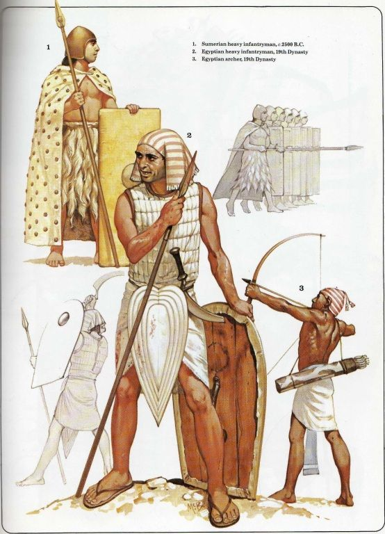 "Illustration from Osprey's Men at Arms book ""Ancient armies of the Middle East"". Showing ancient Sumerian and Egyptian soldiers armed with bows, pole arms, knives, and shields. Light to no armor."