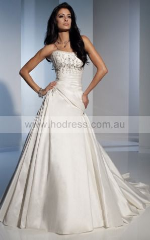 A-line Sleeveless Strapless Lace-up Floor-length Wedding Dresses feaf1084--Hodress