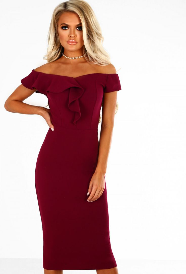 Dearly Beloved Plum Frill Bardot Midi Dress | Pink Boutique
