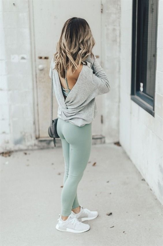d5c6ceed78 Alo Leggings // Alo Strappy Sports Bra // Pullover Sweater // Adidas Shoes