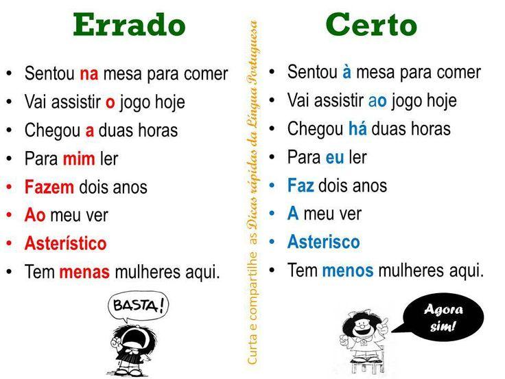 """Dica de Português:''Certo e Errado."""""""