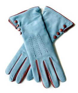 Blue and Brown Suede Leather Gloves